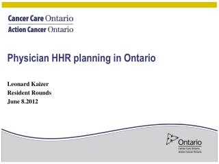 Physician HHR planning in Ontario