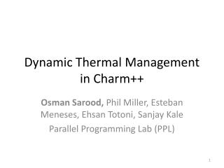 Dynamic Thermal Management in Charm++