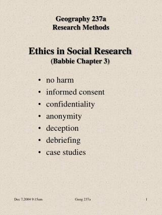 Ethics in Social Research (Babbie Chapter 3)