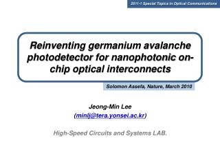 Reinventing germanium avalanche  photodetector  for  nanophotonic  on-chip optical interconnects