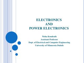 ELECTRONICS  AND  POWER ELECTRONICS