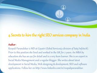 4 Secrets to hire the right SEO services company in India