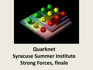 Quarknet Syracuse Summer Institute Strong Forces, finale