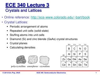 ECE 340 Lecture  3 Crystals and Lattices
