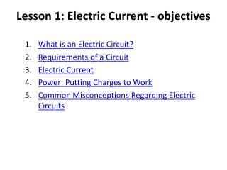 Lesson 1: Electric Current - objectives