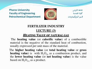 FERTILIZER INDUSTRY LECTURE  (3) Heating Value of natural gas