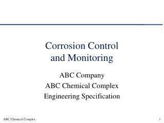 Corrosion Control  and Monitoring