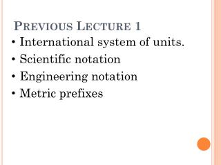 Previous Lecture 1