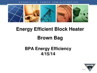 Energy Efficient Block Heater Brown Bag