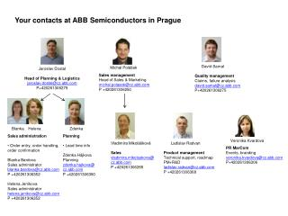Your contacts at ABB Semiconductors in Prague