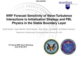 WRF  Forecast  Sensitivity of Wave-Turbulence Interactions to Initialization Strategy and PBL Physics in the Stable Bou