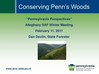 """Pennsylvania Perspectives"" Allegheny SAF Winter Meeting February 11, 2011 Dan Devlin, State Forester"