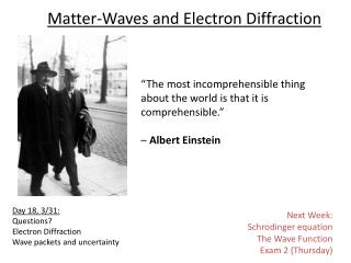 Matter-Waves and Electron Diffraction