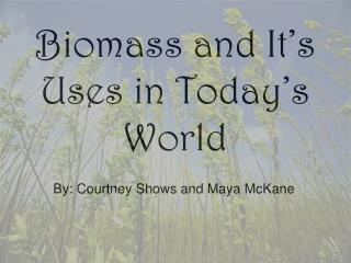 Biomass and It's Uses in Today's World