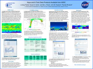 Aqua and A-Train Data Products Available from ASDC Lindsay Parker 1 ,Susan E. Sorlie 1 , Jennifer L. Perez 2 , John M. K