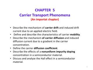 CHAPTER  5 Carrier Transport Phenomena (An importat chapter)
