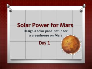 Solar Power for Mars