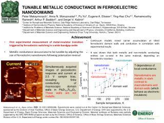 TUNABLE METALLIC CONDUCTANCE IN FERROELECTRIC NANODOMAINS