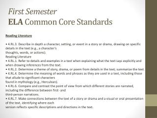 First Semester ELA  Common Core Standards