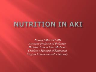 Nutrition in AKI