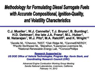 Methodology for Formulating Diesel Surrogate Fuels  with Accurate Compositional, Ignition-Quality,  and Volatility Chara