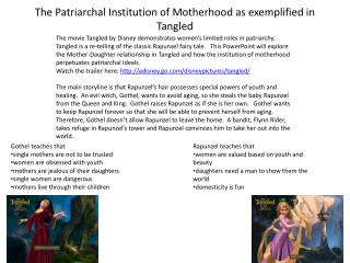 The Patriarchal Institution of Motherhood as exemplified in Tangled