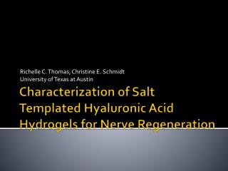 Characterization of Salt Templated Hyaluronic Acid Hydrogels for Nerve Regeneration