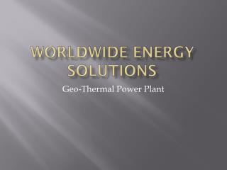 Worldwide Energy Solutions