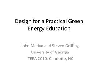 Design for a Practical Green Energy Education