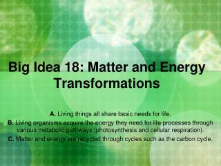Big Idea  18:  Matter and Energy Transformations