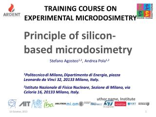 TRAINING COURSE on  EXPERIMENTAL MICRODOSIMETRY