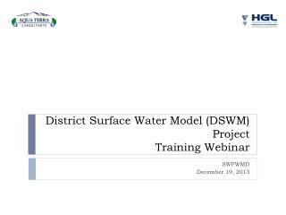 District Surface Water Model (DSWM)  Project  Training Webinar