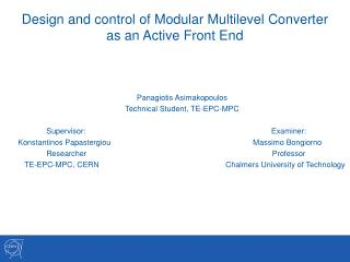 D e sign and control of Modular Multilevel Converter  as an Active Front End