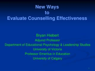 New Ways  to  Evaluate Counselling Effectiveness