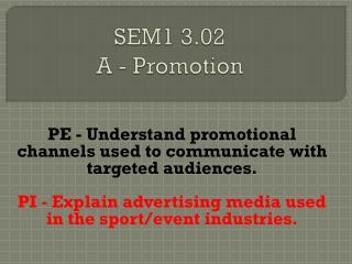 SEM1 3.02  A - Promotion