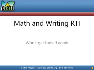 Math and Writing RTI