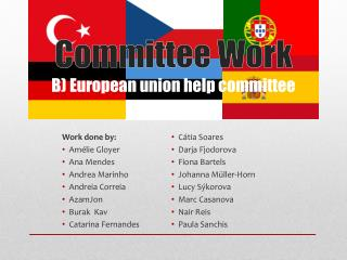 Committee Work B) European union help committee