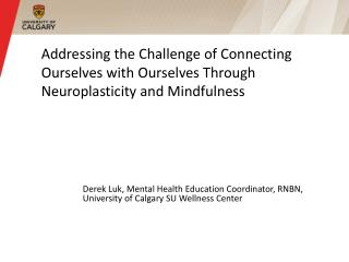 Addressing the Challenge of Connecting Ourselves with Ourselves Through Neuroplasticity and Mindfulness