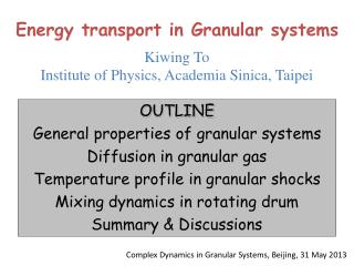 Energy transport in Granular systems