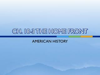 CH. 18-3 THE HOME FRONT