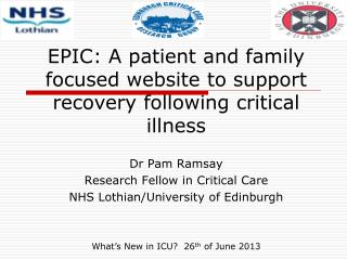 EPIC: A patient and family focused website to support recovery following critical illness