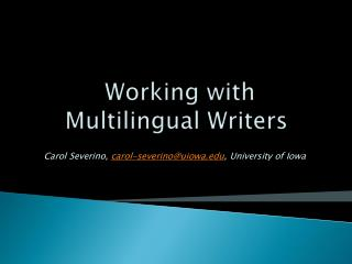 Working with Multilingual Writers