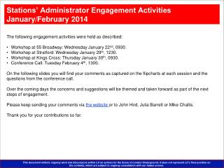The following engagement activities were held as described: Workshop at 55 Broadway: Wednesday January 22 nd , 0930.
