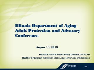 Illinois Department  of Aging Adult Protection and Advocacy  Conference