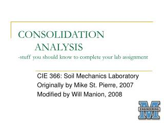 CONSOLIDATION 	ANALYSIS -stuff you should know to complete your lab assignment