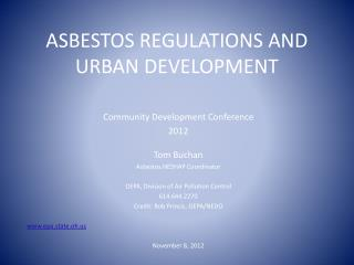 ASBESTOS REGULATIONS AND URBAN DEVELOPMENT