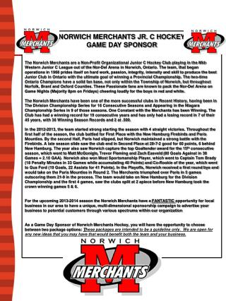 NORWICH MERCHANTS JR. C HOCKEY  GAME  DAY  SPONSOR