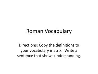 Roman Vocabulary