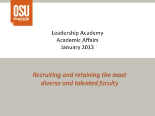 Leadership Academy Academic Affairs January 2013