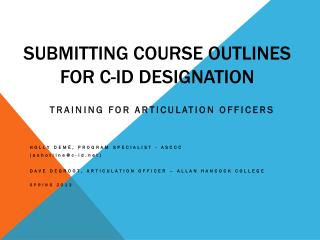 Submitting Course Outlines for C-ID Designation